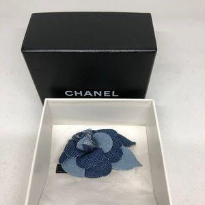 CHANEL Blue Denim Brooch/Corsage